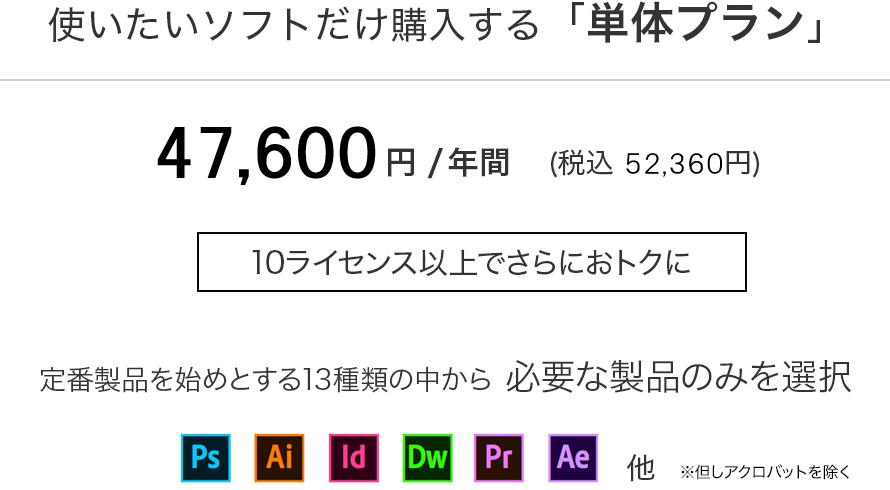 使いたいソフトだけ購入する「単体プラン」45,360円 /年間